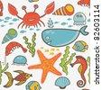 marine seamless pattern, endless texture of sea world - stock vector