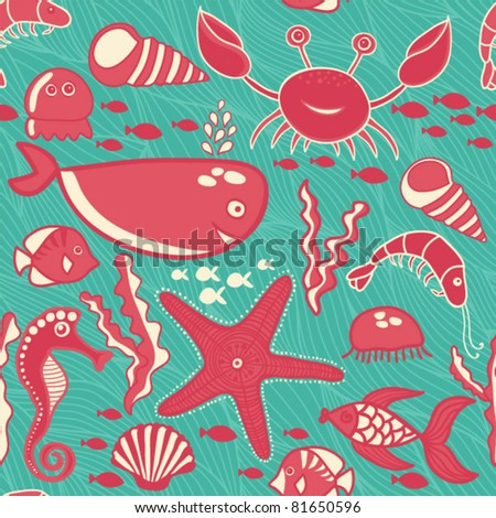 marine seamless pattern, endless texture of sea world - stock vector
