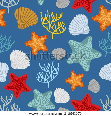 Marine seamless pattern. Starfish, scallop and corals. Clam shells and underwater polyps. Oceanic vector background. Marine Vintage fabric ornament