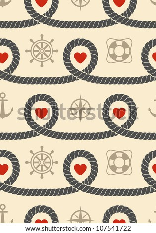 Marine seamless pattern. Vector illustration. - stock vector