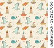 Marine seamless pattern with seagull, boat, whale and lighthouse. Warm colored romantic background. Seamless pattern can be used for wallpapers, pattern fills, web page backgrounds, surface textures. - stock vector