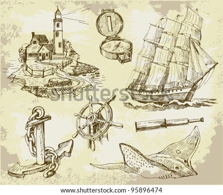 Marine set, high quality collection - stock vector