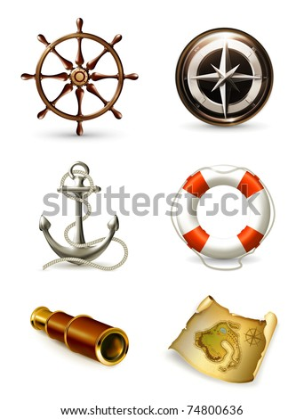 Marine set, high quality icons 10eps - stock vector
