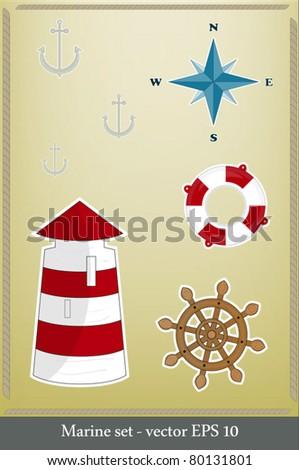 Marine set - lighthouse, life preserver, anchor, wind rose - stock vector