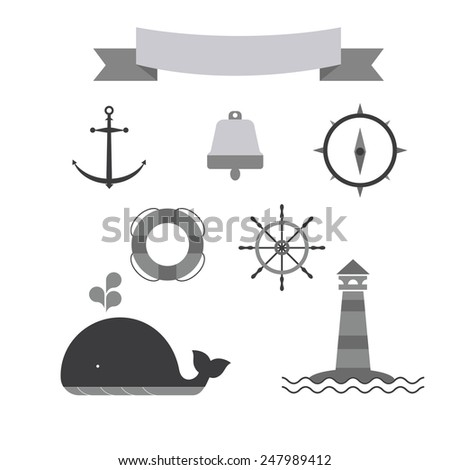 Marine set of icons. monochrome version. includes a lighthouse, whale, bell, compass, circle, wheel - stock vector