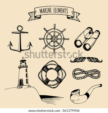 Marine set. Vector nautical elements. Hand sketched sea illustrations. Vintage pirate adventures signs. Maritime design collection. Seaside background. Hand drawn naval series.
