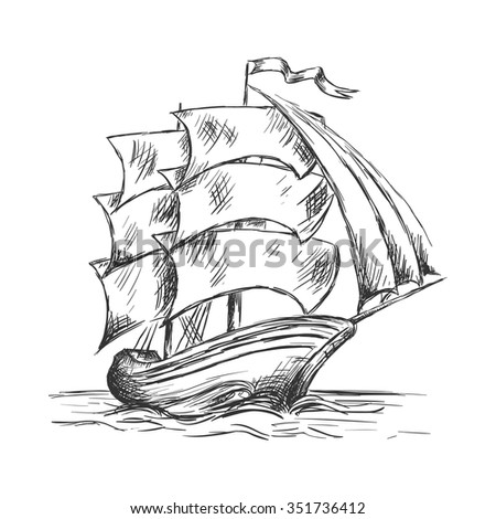 Marine sketch of old ship under full sails with flag on mast. Marine adventure or nautical theme design - stock vector