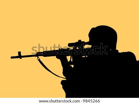Marine Sniper - stock vector