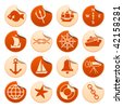Marine stickers - stock vector
