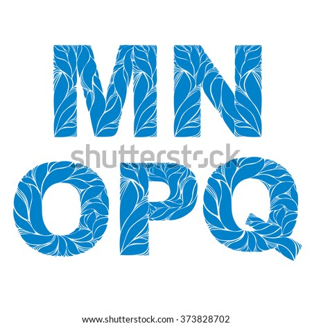 Marine style blue vector font, typeset with floral elegant ornament. M, N, O, P, Q, drop caps. - stock vector