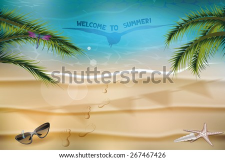 Marine summer composition with the palm tree branches - stock vector