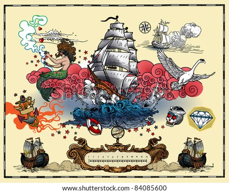 Marine tattoos - stock vector