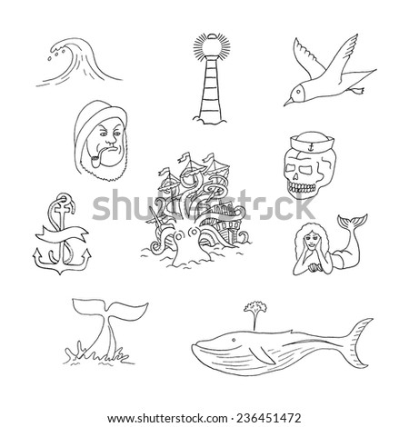 Marine Themes Tattoo Sailor Ocean Octopus Stock Vector 236456419