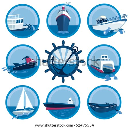 Marine transport collection - stock vector