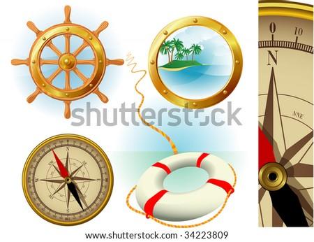 Marine travel vector icons. - stock vector