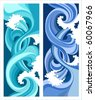 marine waves, stylized design - stock vector