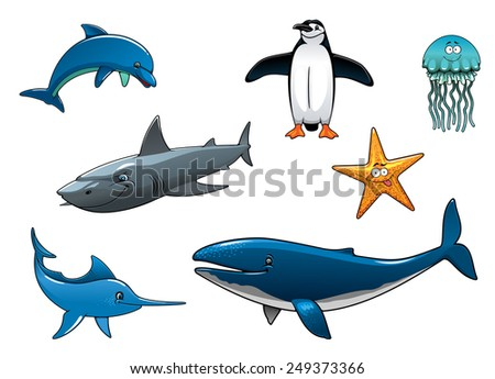 Marine wildlife colored animal characters in vector depicting a dolphin, penguin, shark, marlin, whale, jellyfish and starfish - stock vector