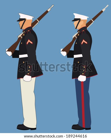 Marine with Rifle on Shoulder Standing at Attention - stock vector
