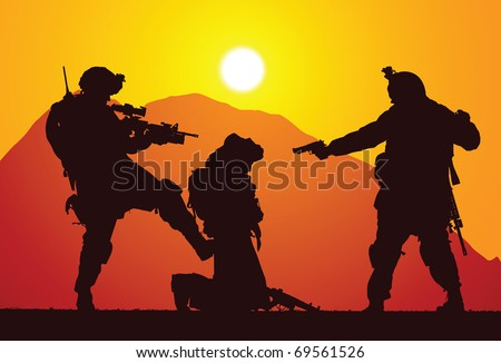 Marines captured a rebel - stock vector