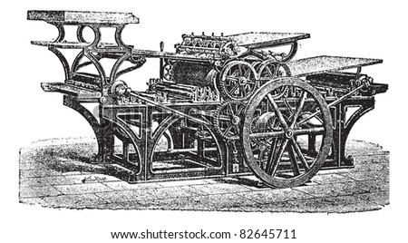 Marinoni  double printing press, vintage engraving. Old engraved illustration of Marinoni double printing press.  Trousset encyclopedia (1886 - 1891). - stock vector