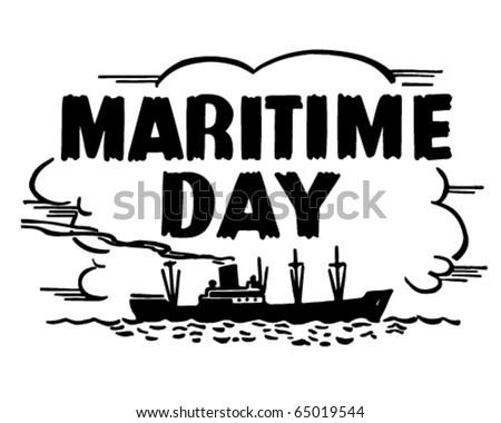 Maritime Day - Header - Retro Clipart - stock vector