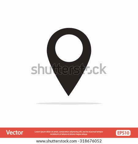 Mark icon, pointer. vector illustration with soft shadow on a gray background - stock vector