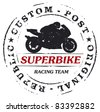 mark stamp with super bike and rider - stock vector