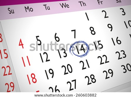 Marked date on an english generic calendar