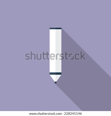 Marker flat icon. Modern flat icons with long shadow effect in stylish colors. Icons for Web and Mobile Application. EPS 10. - stock vector