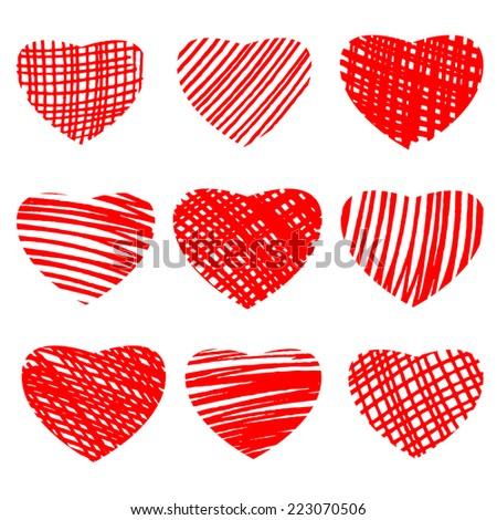 Marker hand drawn hearts. Vector illustration  - stock vector