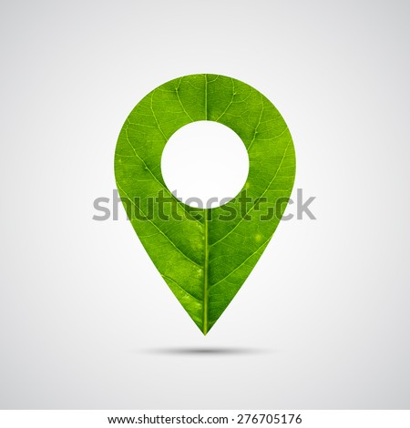 Marker icon , Map pointer icon made of green leaf, green eco energy concept - Vector - stock vector