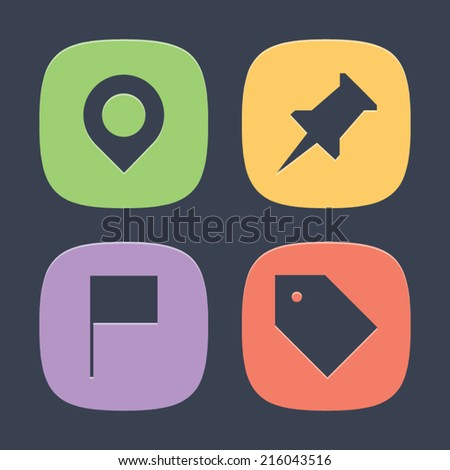 Marker Pin Set of Icons. Vector symbol pictogram icon design. Simple flat metro style. Save for esp10 - stock vector