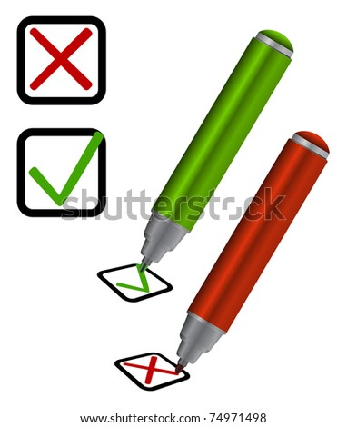 marker with check-box - stock vector
