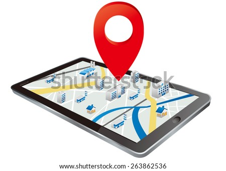 Markers on digital tablet with map Vector  - stock vector