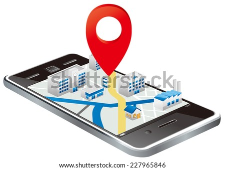 Markers on Smart phone with map  - stock vector
