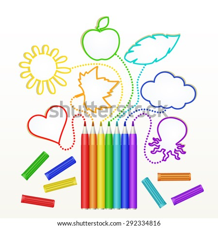 markers rainbow colors draw the heart, leaf, sun, apple, feathers, clouds, and octopus