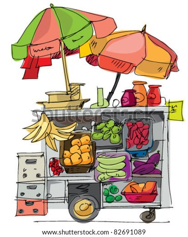market cart with vegetables and fruits - stock vector