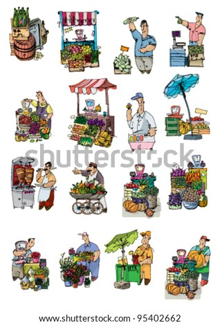 market connected set - cartoon - stock vector