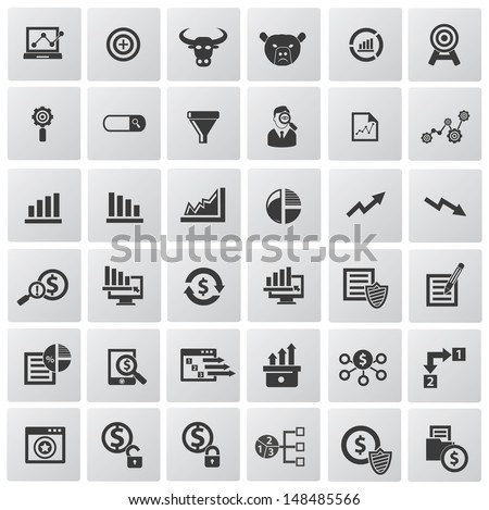 Market,exchange and analysis icons,vector - stock vector