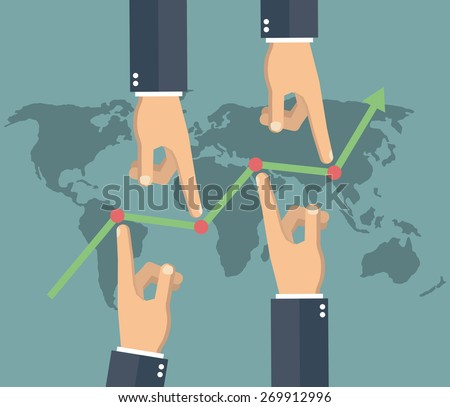 Market manipulation concept in flat style - Businessman hands pushing the prices up and down - stock vector