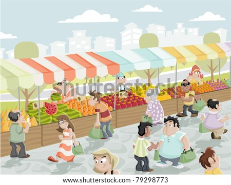Market place on a street with food and vegetables stands. Market stall. - stock vector