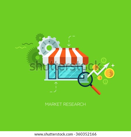 Market research infographic technology online service application internet business concept vector. Design elements for web and mobile applications, infographics and workflow layout - stock vector