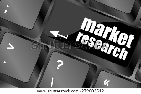 market research word button on keyboard, business concept vector - stock vector