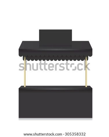 Market stall shop black illustration - stock vector