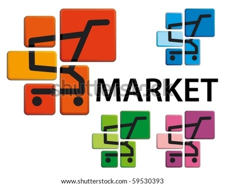 Market symbol - the image of the store cart on buttons - stock vector