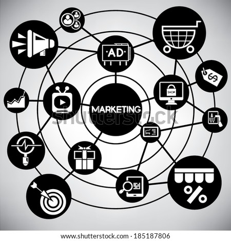 marketing and e commerce network, info graphic - stock vector
