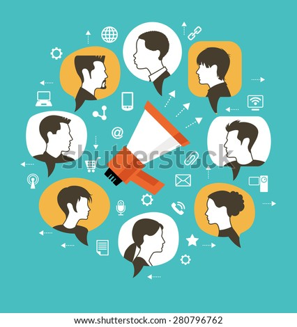 Marketing communication concept. Megaphone surrounded by speech bubbles with icons of people and interface icons - stock vector