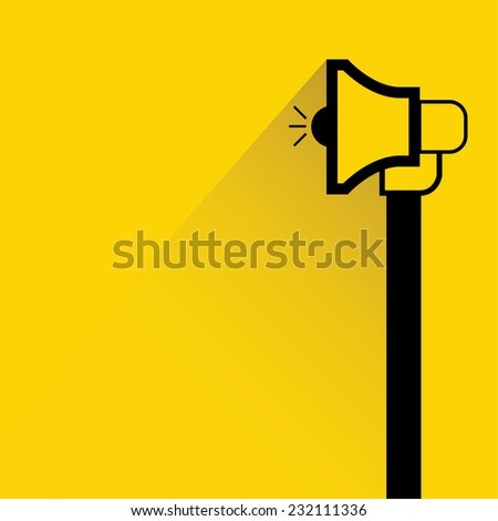 marketing concept, hand holding megaphone on yellow background, flat and shadow theme - stock vector