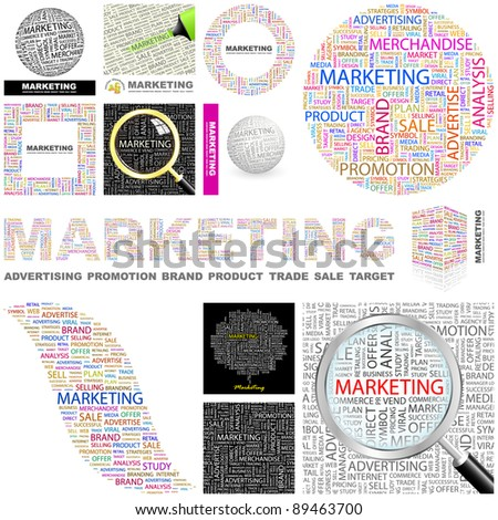 MARKETING. Concept illustration. GREAT COLLECTION. - stock vector