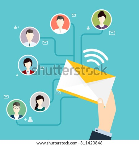 Marketing concept of running email campaign, email advertising, direct digital marketing. Flat design style modern vector illustration concept. - stock vector